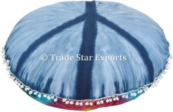 Decorative Tie Dye Floor Cushion Cover Large Tie Dye Round Cotton Floor Pillow Cover