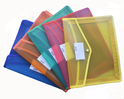 Classik Plastic Button File Folder Swade Matt Design Transparent Colour Document Bag 0.40_616