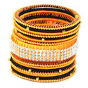 Yellow and Black Silk Thread Bangle Set