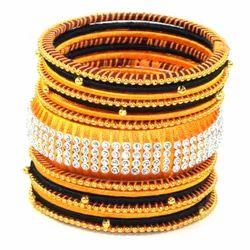 Yellow and Black Silk Thread Bangle Set