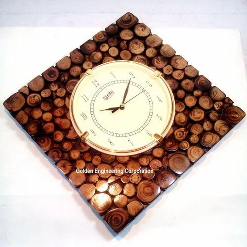 Vintage Handmade Wooden Square Wall Clock Home Decor Golden