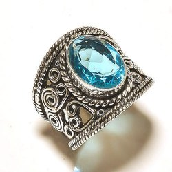 Blue Topaz Quartz Gemstone Sterling Silver Ring Jewelry