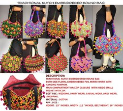 Traditional Kutch Handbag - Multicolor Round Shoulder Bag