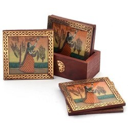 Square Wooden Tea Coaster With Stand