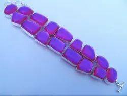 Cab Stone Red Mystic Topaz 92.5 Sterling Silver Bracelets
