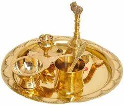 Gold Brass Pooja Thali Set