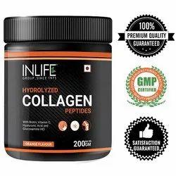 INLIFE Hydrolyzed Collagen Peptides Powder With Biotin, Vitamin C, Hyaluronic Acid - 200g (Orange)