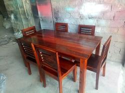 K D Craft Exports Light Walnut Six Seater Sheesham Wood Dining Set, Size: W160xd90xh76 cm, for Home