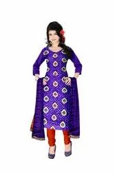 Purple And Orange Color Fancy Design Gadhwal Bandhani Dress Material