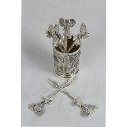 Designer White Metal Fork Stand