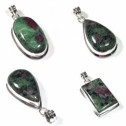 Ruby Zoisite Sterling Silver Gemstone Pendant