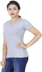 Grey Plain Stylish Cotton Plain T Shirt