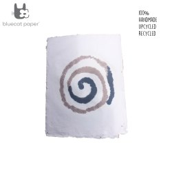 Hand design Gift wrapping paper - white with blue and mauve spiral