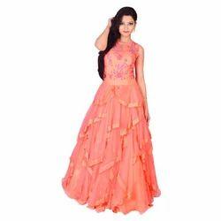 Coral , Net Ladies Gown