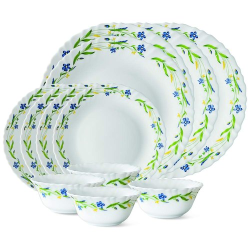 Larah by Borosil Cripper Opalware Dinner Set, 12-Pieces, White