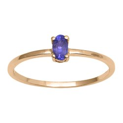 Stackable Pure Fine Gold 9k Tanzanite Gemstone Women Engagement Ring