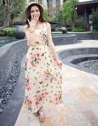Multi-Colour Printed Chiffon Maxi Dress