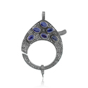 Blue Sapphire Gemstone Pave Diamond Clasp