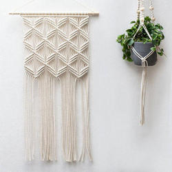 Natural Thread Color cotton rope Wall Hanging macrame, Size: 12 Inch X 30 Inch
