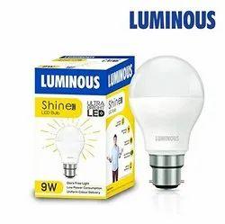 Luminous 9 Watt Ultra Bright LED Bulbs, For Home, Base Type: B22