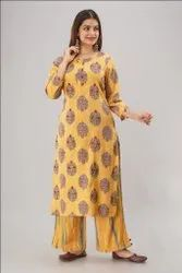 Round Neck Rayon Printed Embroidered Kurti With Palazzo
