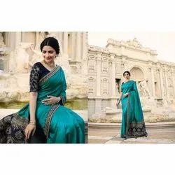 Embroider Ladies Border Silk Saree, 6.3 m (with blouse piece)