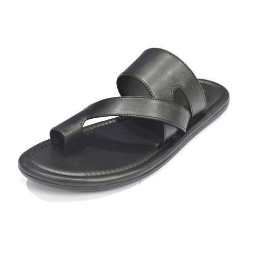Black Fashion Leather Slipper, Size: 6 to 11
