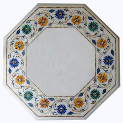 Italian Stone Pietra Dura Marble Inlay Octagonal Table Top