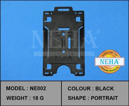 Neha Plain Black ID Card Holder, Packaging Type: 1 Box 1 Piece