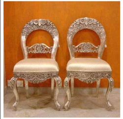 Brown Silver or White Metal Inlaid Chairs