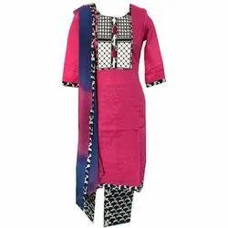 Angel Creation Cotton Ladies Printed Designer Suit, Machine wash