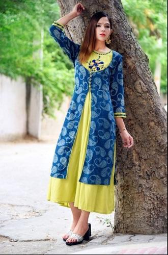 5906c2a60a Women Rayon Embroidery Hand Block Western Dress, Rs 550 /piece | ID ...