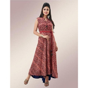 Rayon Maroon Printed Floor Length Gown, Size: M, L & Xxl