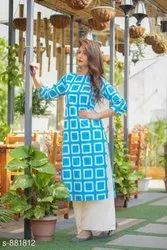 Ladies Blue Designer Kurti With Palazzo