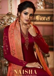 Fiona Naisha Heavy Dupaata Jacquard Pallu Straight Salwar Kameez Catalog