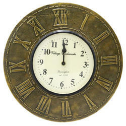 A Center Of Dail Wooden & Brass Analoge Wall Clock