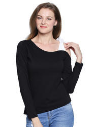 Women's One Side Shoulder 100% Cotton T-Shirt