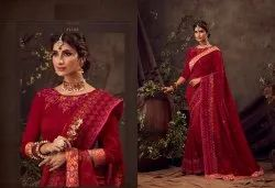 Heavy Embroidery Party Wear & Festival Wear Designer Sarees from Catalog Orange Vol 10