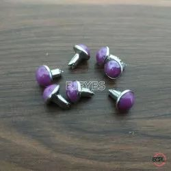 7mm Brass & Stone Dome Pearl Rivets Purple