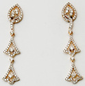 light weight long pattern diamond studded bell hanging earrings