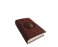 Embossed Leather Journal with Beautiful Stone