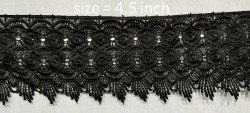 Polyester Embroidered Black Lace, For Garment, Size: 4.5 Inches