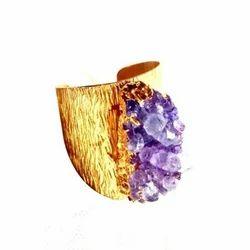 Handmade Gold Plated Brass Druzy Rings