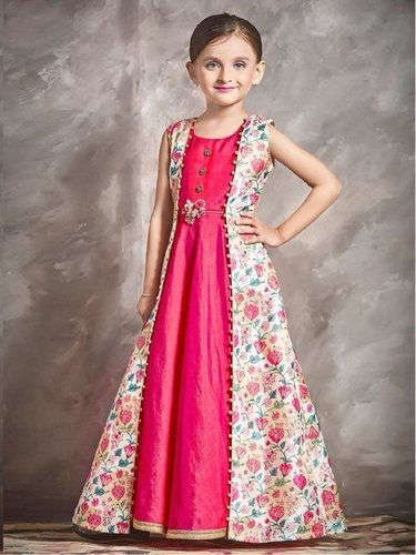 93a8a0e8a16 Girls Party Wear Beautiful Designer Banarasi Silk Kids Gown