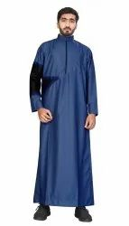 Blue Color Cotton Islamic Wear Men Thobe Jubba