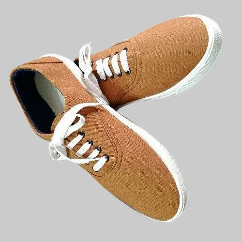 Mens Brown And White Canvas Shoes, Size