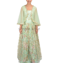 Woman Mint Green Cape Style Gown