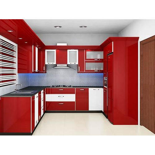 Red And White Stylish Modular Kitchen, Rs 1200 /square feet, Angel ...