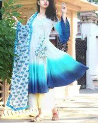 Pure Cotton Tie Dye Process Anarkali Style Full Stitch Dress