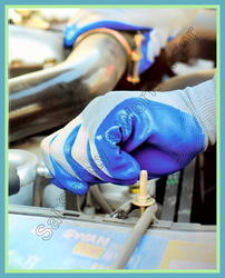 SS & WW Make Nylon Knitted Nitrile Dipped Hand Gloves